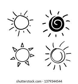Hand painted sun, sun rays, sketch of the sun.