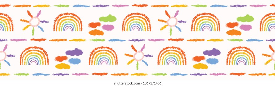 Hand painted textured rainbow, sun, clouds. Seamless fun border pattern. Rainbow vector illustration. Bright ribbon edge trim. Colorful gender neutral baby banner. Kids stationery washi tape band.