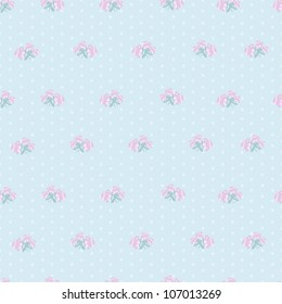 Hand painted textured small roses and   polka dot vector seamless pattern. Made in pretty girlish style