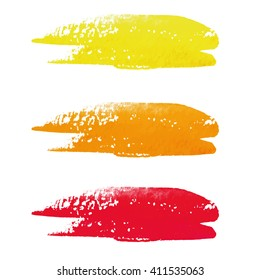 Hand painted vector orange watercolor background. Watercolor brush strokes.