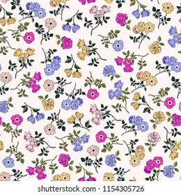 hand painted vector roses pattern. vintage flowers seamless background