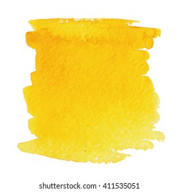 Hand painted vector yellow watercolor background. Watercolor brush strokes.