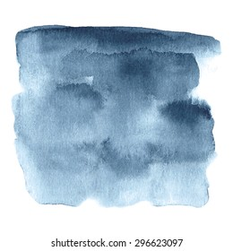 Hand painted watercolor background in dark blue and grey colors. Watercolor element for invitations, cards or menus.