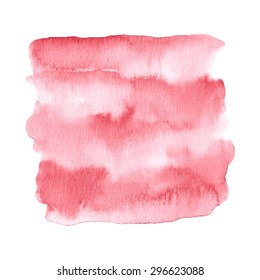 Hand painted watercolor background in red and pink colors. Watercolor element for invitations, cards or menus.