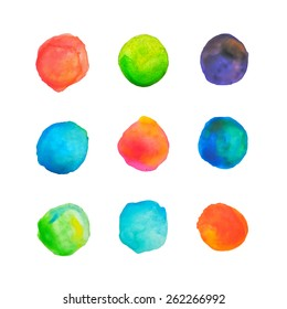 Hand painted watercolor circles made in vector. Artistic design elements.
