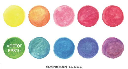 Hand painted watercolor circles,vector