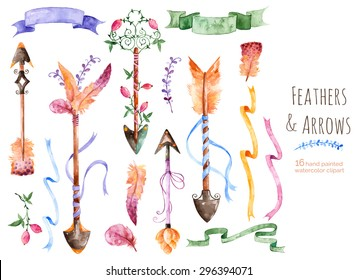 Hand painted watercolor collection for your design with romantic arrows, feathers, ribbons and banners.Hand drawing painting.Vector Watercolor design elements for Valentine's day,wedding and others .