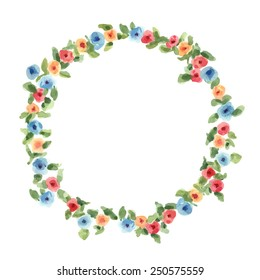 Hand painted watercolor floral round frame. Vector illustration