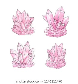 Hand painted watercolor and ink set of pink crystal clusters isolated on the white background. Quartz minerals vector illustration.