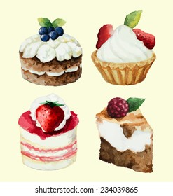 Hand painted watercolor set of sweet cupcakes. Vector illustration.