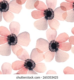 Hand painted watercolor vector anemone seamless pattern background