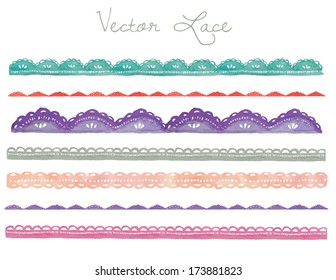 A Hand Painted Watercolor Vector Lace Collection