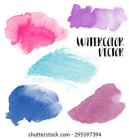 Hand painted watercolor wash spots. Vector aquarelle backgrounds.