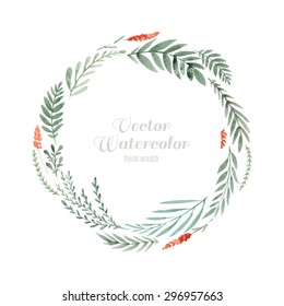 Hand painted watercolor wreath made in vector. Unique decoration for greeting card, wedding invitation, save the date. Isolated floral design. Summer flowers with space for your text.