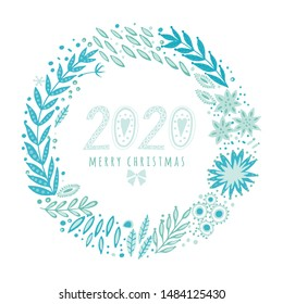 Hand painted wreath circle frame with folk ethnic flowers, bright ornamental plants and branches. 2020 Merry Christmas greeting card of flowers for invitation, wedding or greeting cards