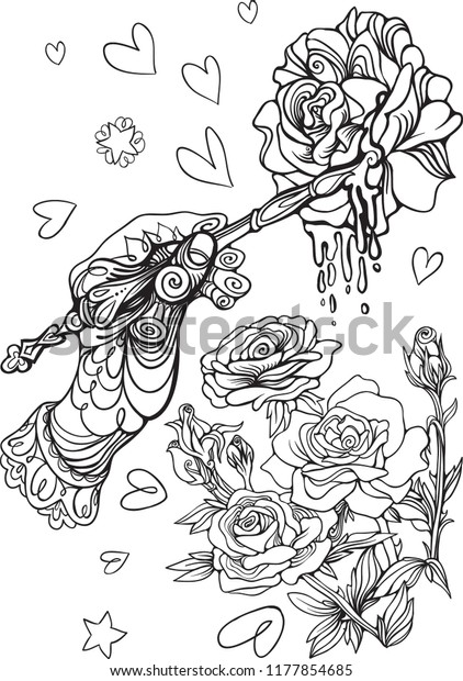 Hand Painting Roses Alice Wonderland Coloring Stock Vector ...