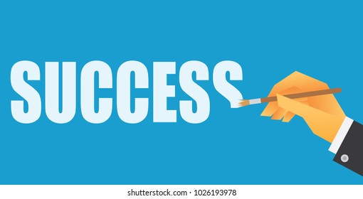 a hand painting word success vector illustration