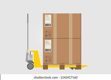 Hand pallet jack with cardboxes. Yellow pallet truck. Vector isolated illustration