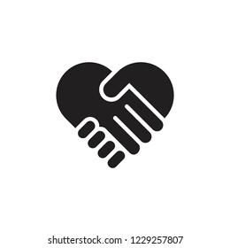 hand palm care love symbol vector