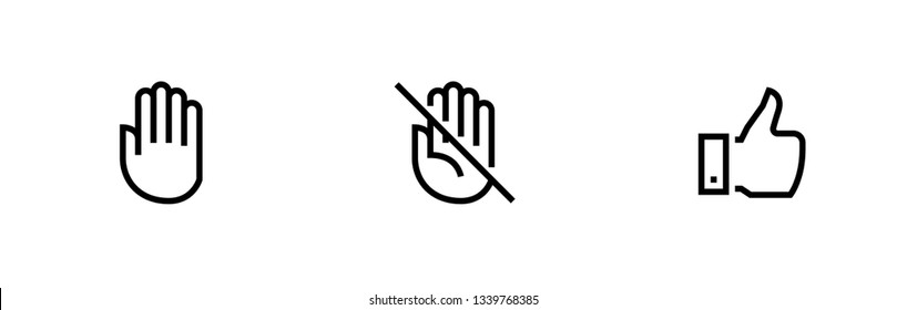 Hand, Palm Don't Touch, Thumb Up Line Editable Icons