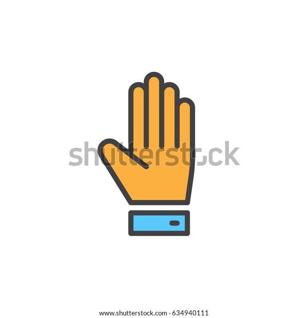 Hand, palm filled outline icon, line vector sign, linear colorful pictogram. Symbol, logo illustration. Pixel perfect