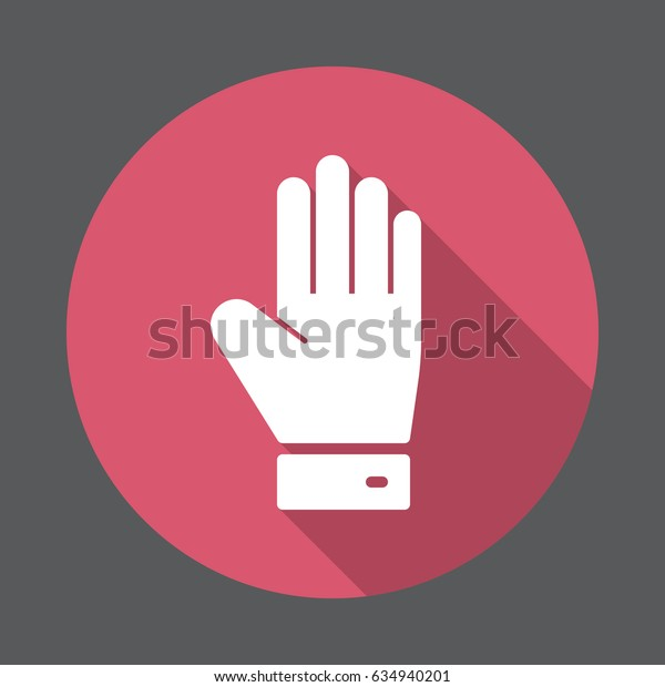 Hand, palm flat icon. Round colorful button, circular vector sign with long shadow effect. Flat style design