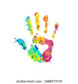 Hand palm sign of vector rainbow splash paint
