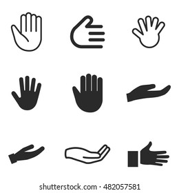 hand palm vector icons. Simple illustration set of 9 hand palm elements, editable icons, can be used in logo, UI and web design