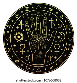 Hand palmistry in a circle on a black background.