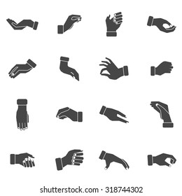 Hand palms gestures of grabbing taking and holding something black silhouettes icons collection abstract vector isolated illustration