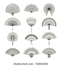 Hand paper fan vector icons. Chinese or japanese beautiful fans isolated. Monochrome japanese souvenir fans illustration. Line style.