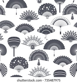 Hand paper fan vector seamless pattern. Chinese or japanese beautiful fans isolated. Black and white asian souvenir fans illustration. Flat style.