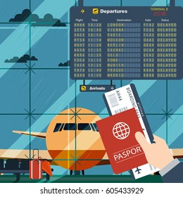 Hand of the passenger with boarding pass and passport in the airport terminal. Vector illustration. Flight Delayed Due To Bad Weather.