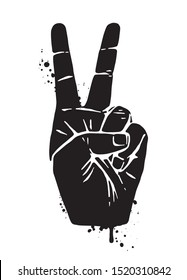 Hand Peace Sign as Black Silohuette with Grunge texture.