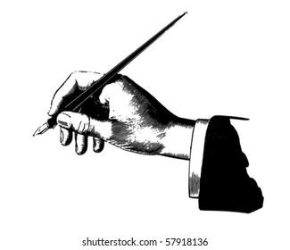 Hand With Pen - Retro Clip Art