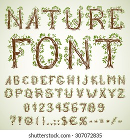 Hand pencil drawn green colored natural ecological vector font