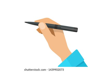 Hand with pencil vector illustration, flat cartoon hand holding pen isolated on white