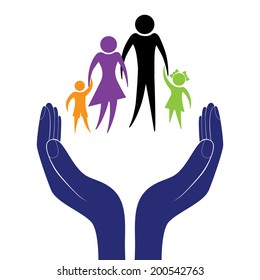 Hand in people encouragement help. Vector support moral. Life insurance of family. Health care. Social person.
