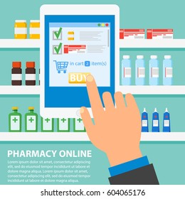 Hand pharmacist hands holding white tablet, medicines on shelves in background. Online pharmacy concept. Finger touch pay button on screen for medicine online payment via application.