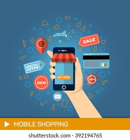Hand with phone buy. Mobile payments, Shopping concept. Illustration for Online Mobile Shopping.
