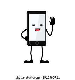 hand phone character, mascot hand phone, smart phone mascot