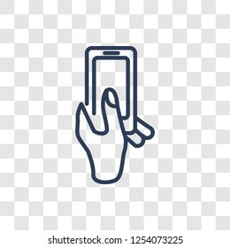 Hand and Phone icon. Trendy linear Hand and Phone logo concept on transparent background from Hands collection
