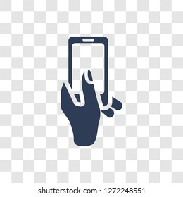 Hand and Phone icon. Trendy Hand and Phone logo concept on transparent background from Hands collection