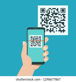 Hand with phone scanning qr code. Flat style icon. Vector illustration.