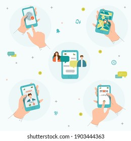 Hand with phone set. Hand holding a smart phone. Video chat, phone call, chatting and geo location apps. Calling mom. Mobile technology set. Trendy flat style. Vector illustration