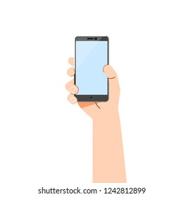 Hand phone - vector concept, flat design.