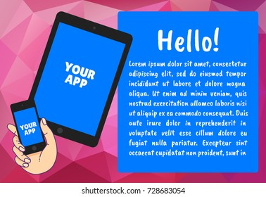 Hand with phone vector illustration in flat style. Hand holding a phone concept. Smartphone in hand isolated on background. The bubble with the text.