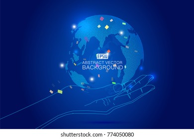 Hand pick up  three-dimensional,abstract,planet,,dots,,representing,the,global,,international,meaning.