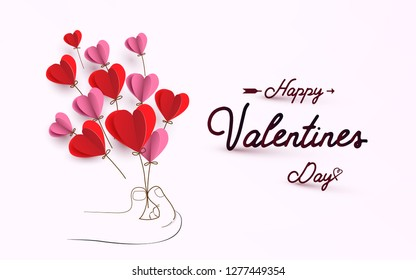 Hand picking Hearts shape balloons. Happy valentines day - Shutterstock ID 1277449354