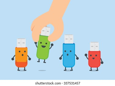 Hand picking to one flash drive up from group. This illustration refer to selection a good flash drive.